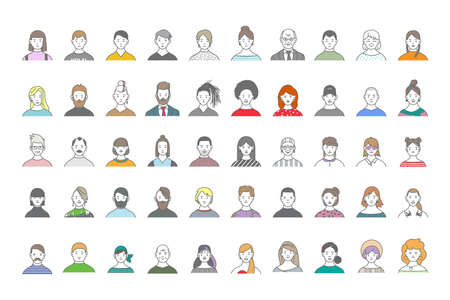 Gran conjunto de avatares de personas para redes sociales, sitio web. Retratos de arte lineal de chicas y chicos de moda.