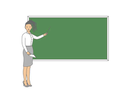 Young female teacher on lesson at blackboard in classroom. Teacher with pointer, teacher showing on board. Vector illustration