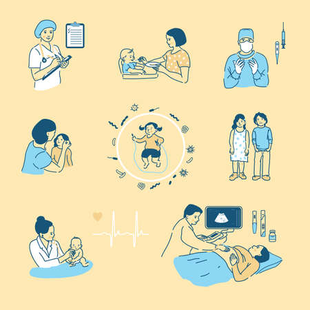 Vector illustration in cartoon style for Infographics. Children s health, pregnancy, care of an infant, motherhood. A large set of images of people in a flat style with a stroke. Çizim