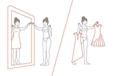 Woman standing and looking in mirror. Flat style vector illustration. Electronic fitting room illustration.