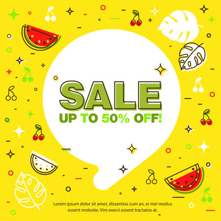 Summer sale background layout banners decorate with line art tropical leaf. Voucher discount. Vector illustration template. Çizim