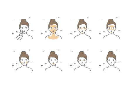 Steps how to apply face make-up. Vector isolated illustrations set. Beauty make-up.