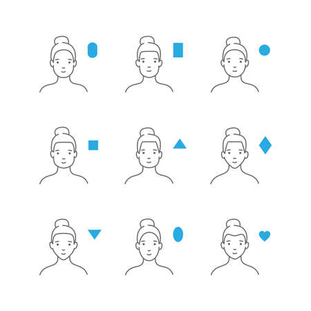 Different forms of a womans face vector illustration