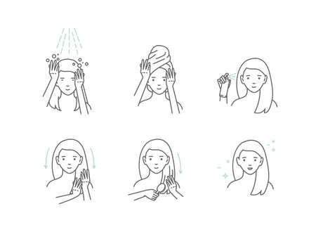 Schönheitsmodemädchen wenden Haarmaske an. Linienstil-Vektor-Illustration. isoliert auf weißem Hintergrund. Vektorgrafik
