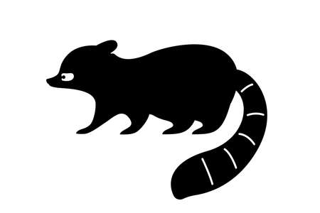 Black raccoon silhouette. Vector