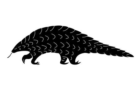 Black pangolin silhouette. Vector shadow. Laser cutting path