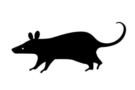 Black rat silhouette. Vector