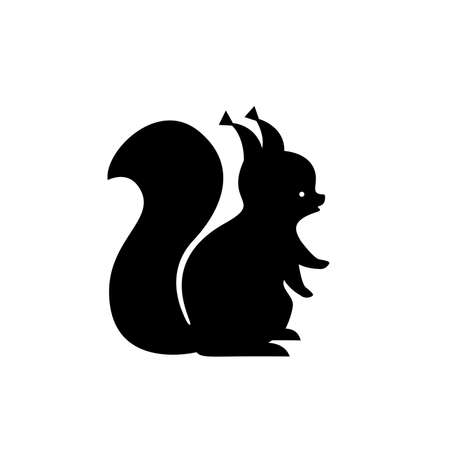 Black squirrel silhouette. Vector Çizim
