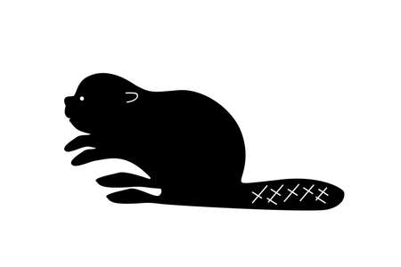 Black beaver silhouette. Vector shadow. Laser cutting path