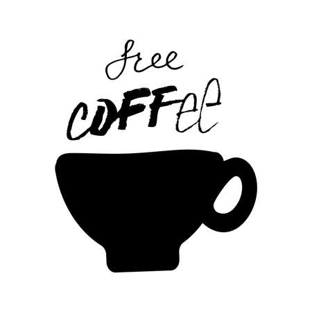 Hand drawn vector artistic ink sketch and handwritten free coffee calligraphy text isolated on white background. Coffee shop concept.
