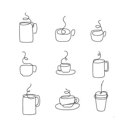 Vector cup of tea or coffee drawn by single continuous line.