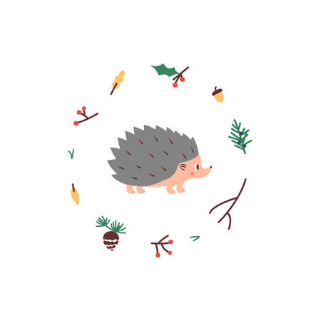 Cute Hedgehog. Vector illustrtion. Minimalistic design, children s picture. Print for clothes, dishes etc Çizim