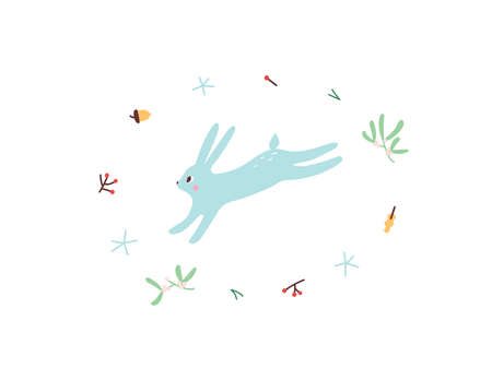 Cute Hare. Vector illustrtion. Minimalistic design, children s picture. Print for clothes, dishes etc Çizim