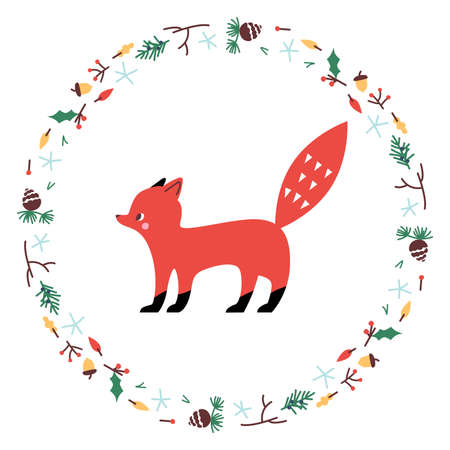 Cute Fox. Vector illustrtion. Minimalistic design, children s picture. Print for clothes, dishes etc