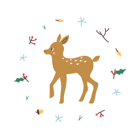 Cute deer. Vector illustrtion. Minimalistic design, children s picture. Print for clothes, dishes etc