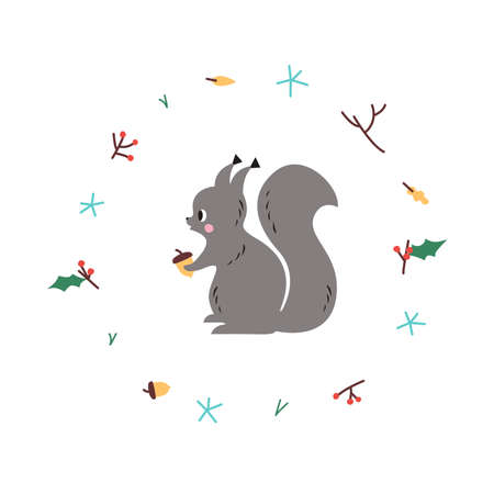 Cute squirrel. Vector illustrtion. Minimalistic design, children s picture. Print for clothes, dishes etc