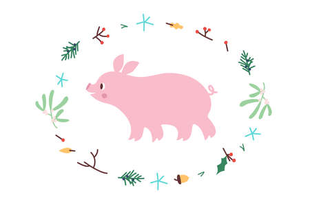 Cute Pig. Vector illustrtion. Minimalistic design, children s picture. Print for clothes, dishes etc Çizim