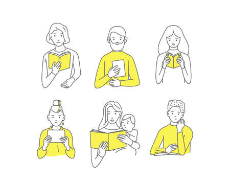People read, students with books, different people, vector doodle design