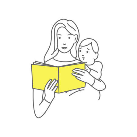 Mother reading a book for baby on white