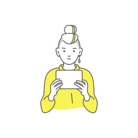 Woman reading a book on white Illusztráció