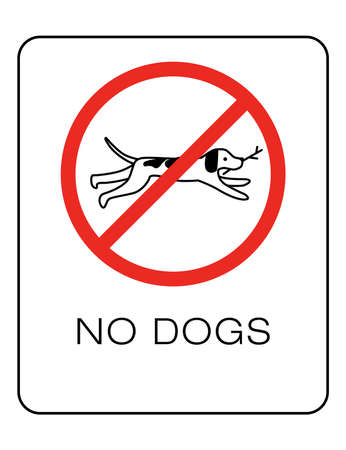 Dog owner sign. Prohibiting and resolving signs on white