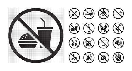 High quality prohibition signs collection isolated on white.