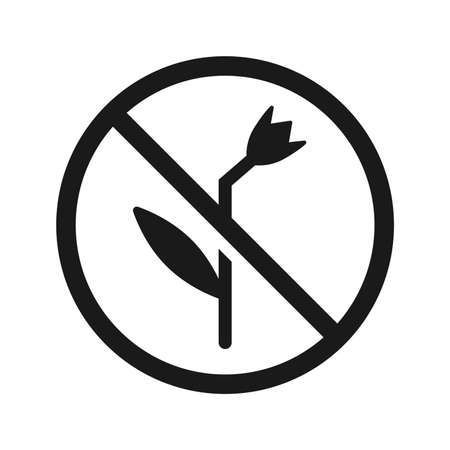 Prohibited from picking flowers, caution warn symbol for public areas to do not do that.