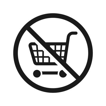 No shopping cart sign, vector illustration. High quality prohibition sign isolated on white. City public signs. Monochrome, one color, black and white.