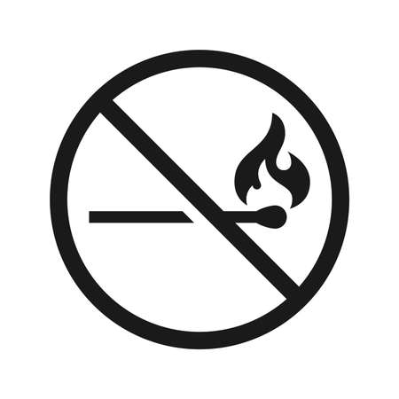No fire vector sign on white