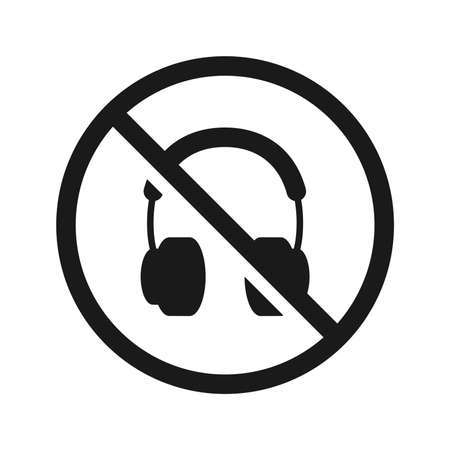 No headphones signs on white