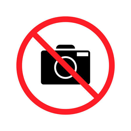 No taking pictures. High quality prohibition sign isolated on white.
