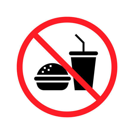 No food no drinks sign on white