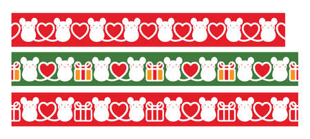 Vector set of decorative seamless elements and ornaments with mice for New Year frame and border decorations.