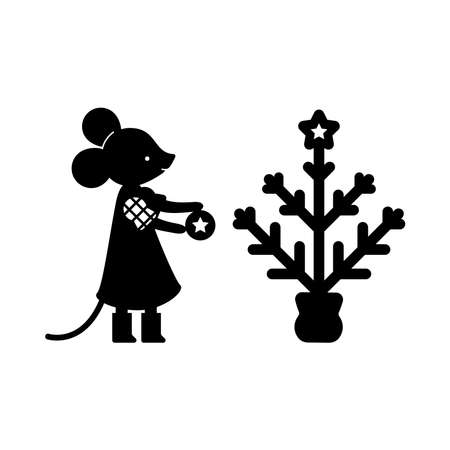 Flat vector figure of mouse. Simple monochrome image of a mouse decorating a Christmas tree, paper cutting style, stencil, lasercut.