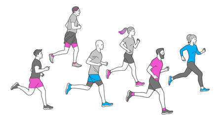 Runners group in motion. Running men and women sports background. People runner race, training to marathon, jogging and running illustration. Different gender and age marathon runners. Çizim
