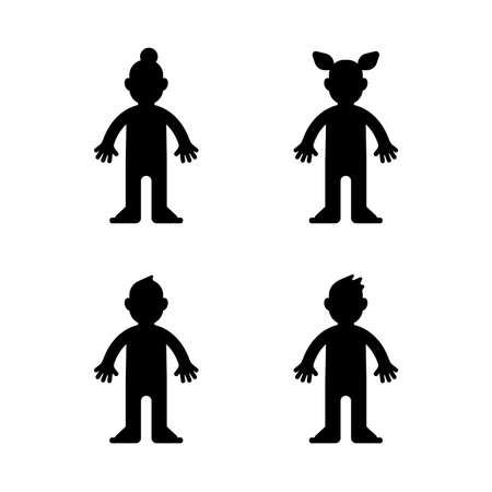 Dolls, little boy and girl, black silhouette on white