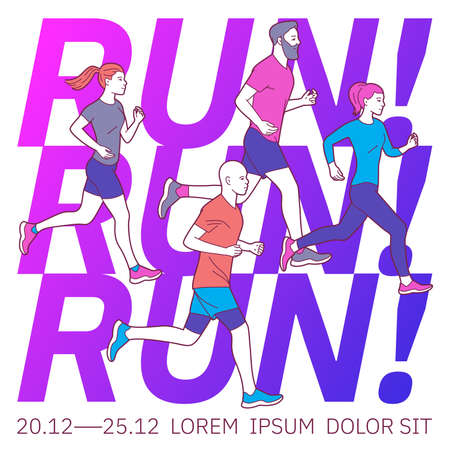 Vector illustration on the theme of running.