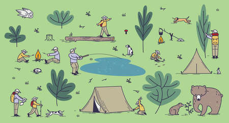 Summer forest camping vector