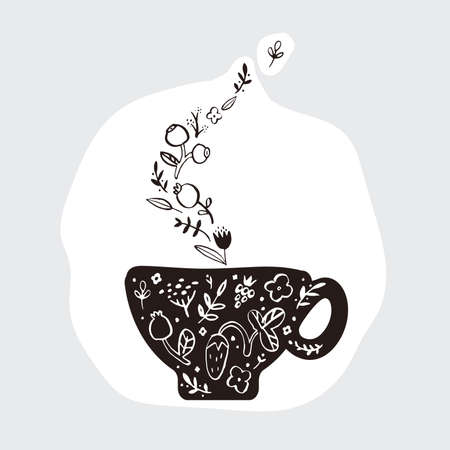 A doodle picture of a cup of herbal fragrant tea.