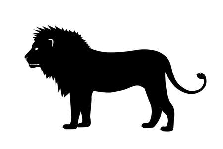 Vector illustration of a black silhouette lion on white