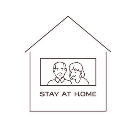 I stay at home awareness, old man and woman smiling and staying together.