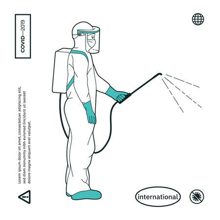 Man in Protective Suit or Clothing, Spray to Cleaning and Disinfect Virus, Covid-19, Coronavirus Disease, Preventive Measures
