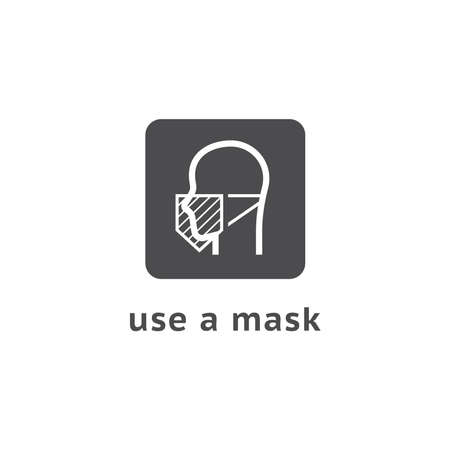 Vector Wear Face Mask sign for people. Warning sign recommend use of protective face mask in prevention Coronavirus.