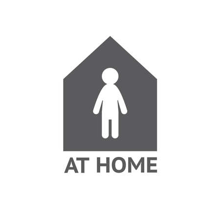 Stay home, home sticker symbol vector.