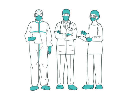 Professional doctors and nurses posing together wearing protective suits, virus outbreak emergency concept
