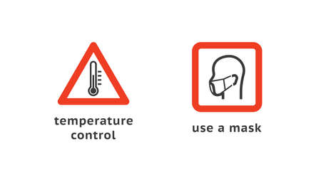 Temperature control and use a mask. Signs for public places. Warning sign recommend use of protective face mask in prevention Coronavirus. Health concept. Illusztráció