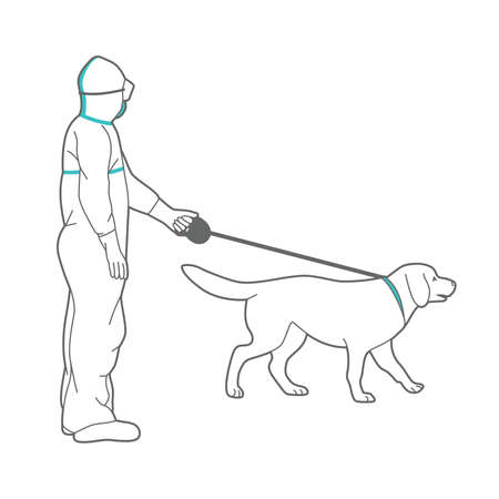 Man in protective suit and respirator is walking a dog.