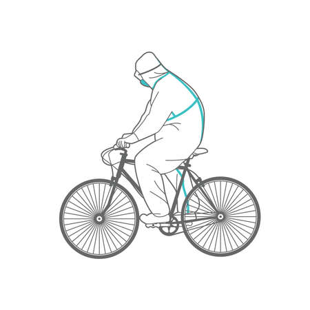 Man in protective clothing on a bicycle.