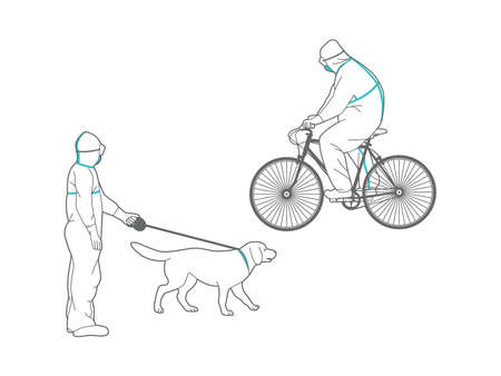 A man in a protective suit rides a bicycle and walks a dog in the park. Full body protective clothes. Personal protective equipment against viruses and pesticides. Illusztráció