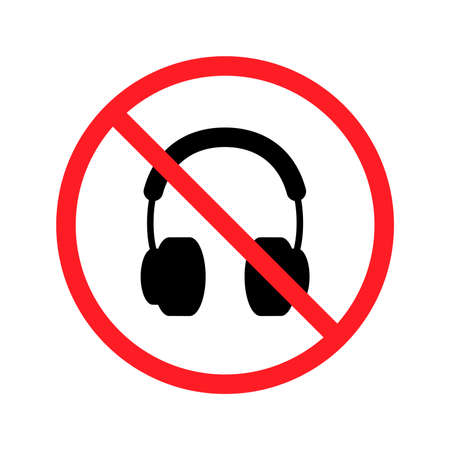 No headphones signs on white background. Vector illustration.